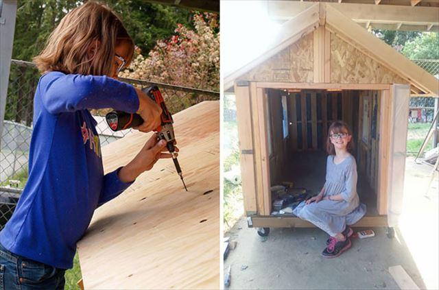 ドッグハウスを作る少女