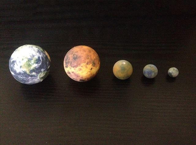3Dプリンター「地球の大きさ比較」
