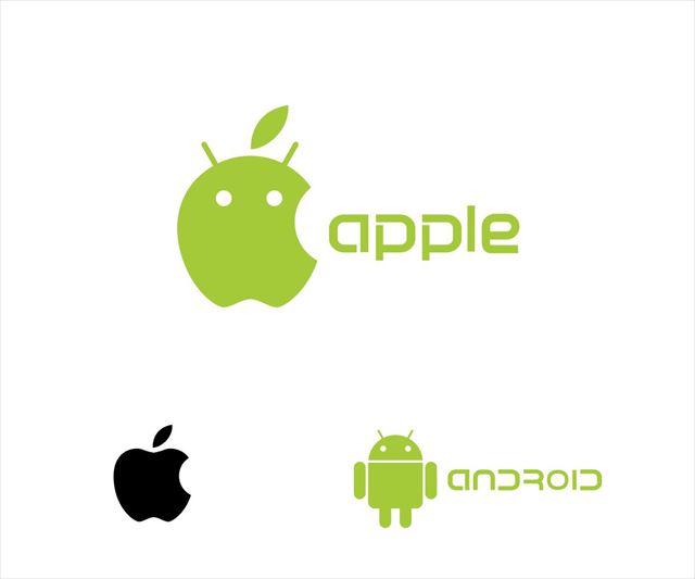 AppleとAndroidのロゴ