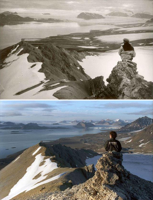 北極の氷が気候変動により変化した100年前と現在の比較写真4枚目