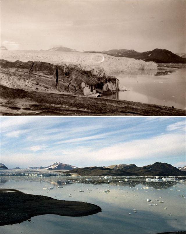 北極の氷が気候変動により変化した100年前と現在の比較写真3枚目
