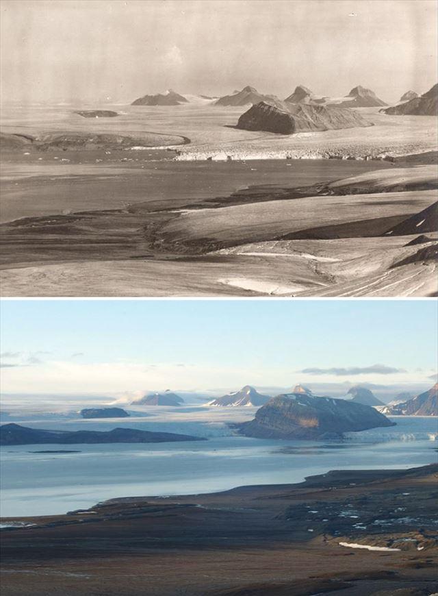 北極の氷が気候変動により変化した100年前と現在の比較写真6枚目