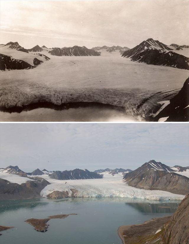 北極の氷が気候変動により変化した100年前と現在の比較写真1枚目