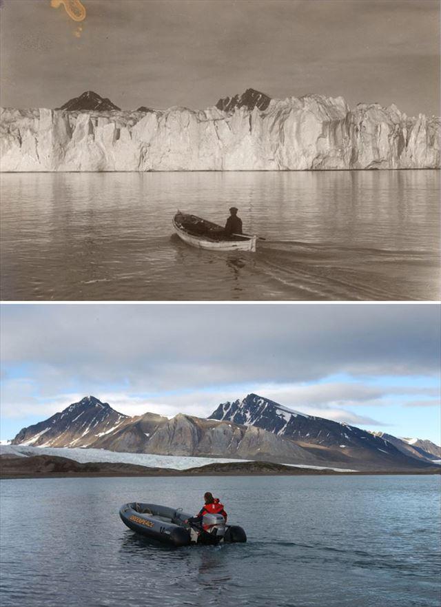 北極の氷が気候変動により変化した100年前と現在の比較写真2枚目