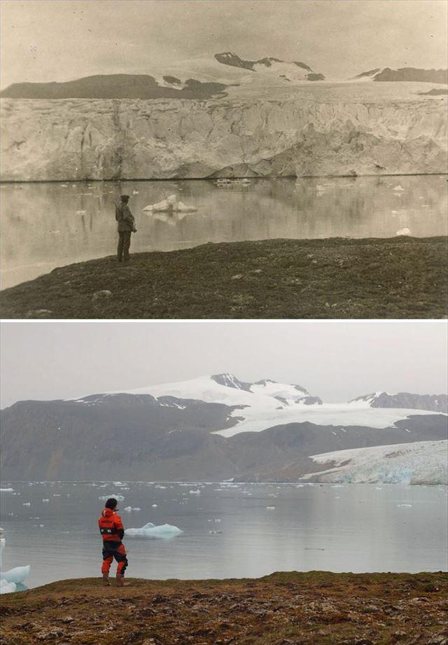 北極の氷が気候変動により変化した100年前と現在の比較写真7枚目