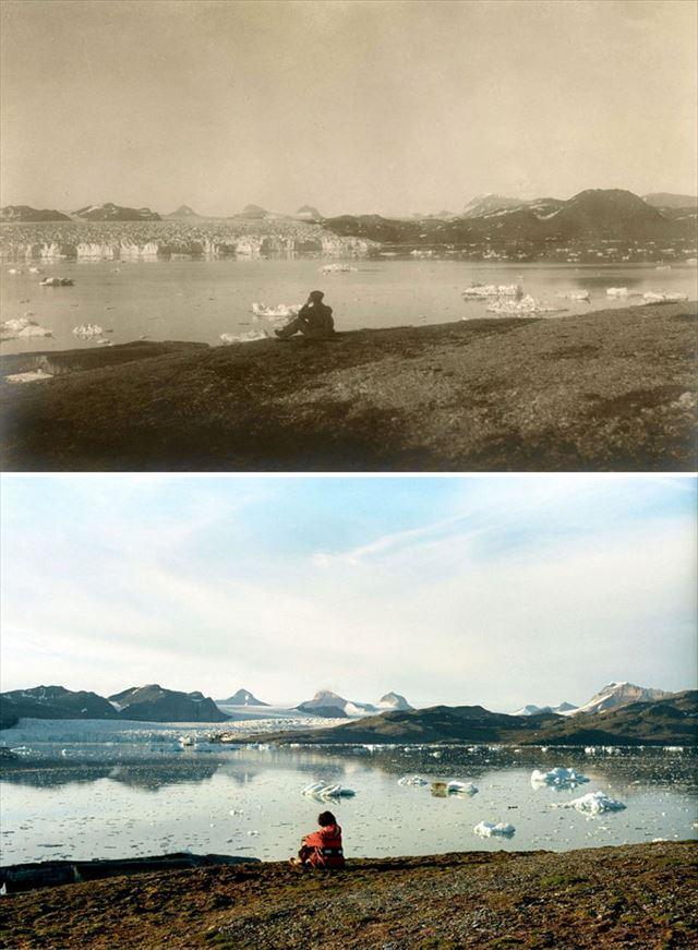 北極の氷が気候変動により変化した100年前と現在の比較写真5枚目