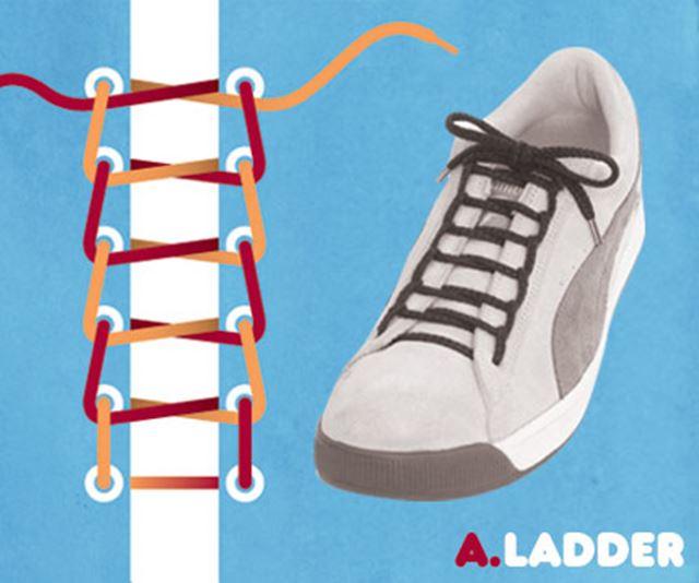 靴紐の結び方 / はしご結び、ラダー結び