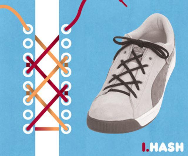靴紐の結び方 / 刻み結び ハッシュ結び