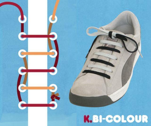 靴紐の結び方 / 2色結び