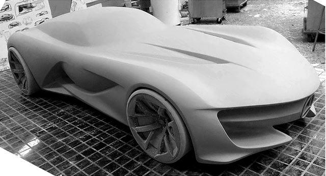 メルセデス・ベンツ 新型SLコンセプトのモデルメイキング クレイプライマー作業
