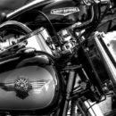 モーターサイクルギャングのハーレーカスタムで隠される拳銃