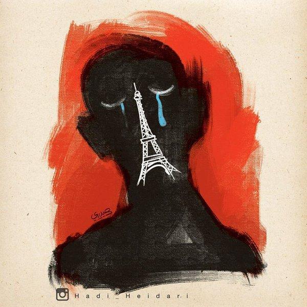 パリ同時多発テロを表した絵