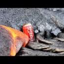 溶岩の進路にコーラ缶を置くとどうなる?実験映像